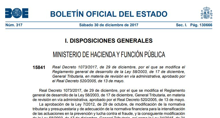 Real Decreto 1073/2017, de 29 de diciembre